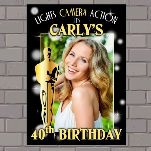 Personalised Gold  Awards Happy Birthday Party PHOTO Poster Banner N130